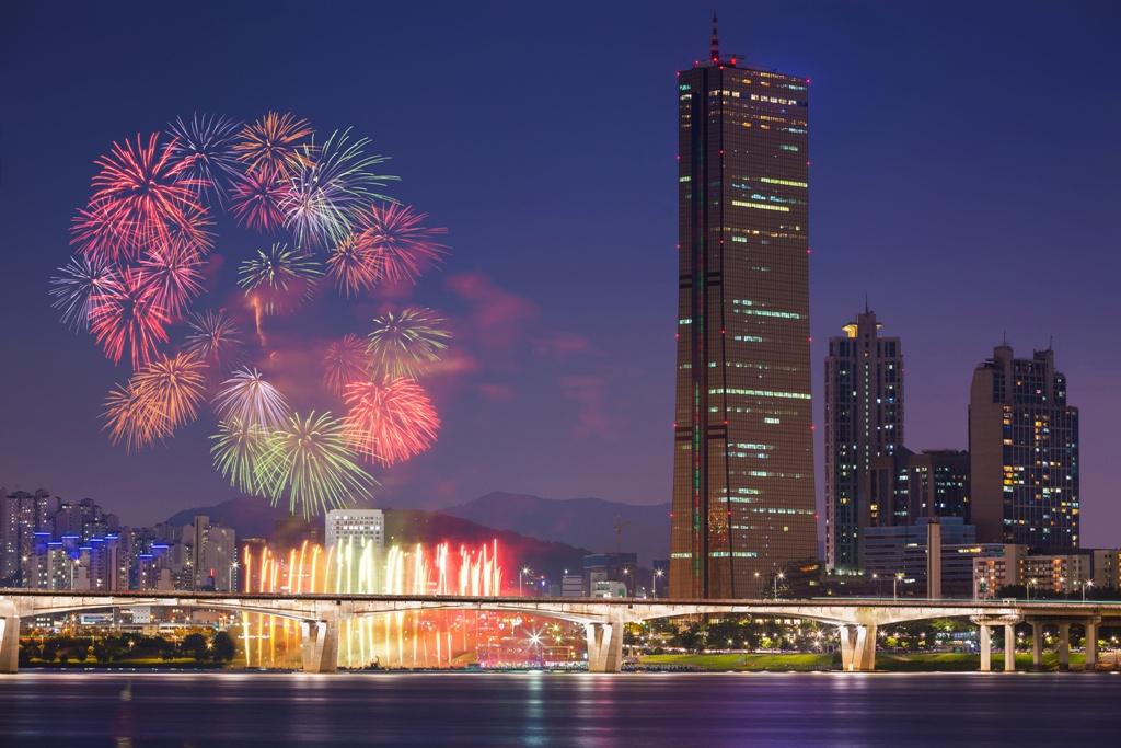 Fireworks festival and Seoul city, South Korea.